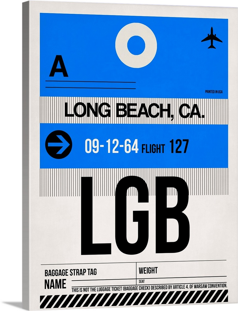 Large Solid-Faced Canvas Print Wall Art Print 30 x 40 entitled LGB Long Beach Luggage Tag I Solid-Faced Canvas Print entitled LGB Long Beach Luggage Tag I.  Multiple sizes available.  Primary colors within this image include Black, Gray, White, Royal Blue.  Made in the USA.  Satisfaction guaranteed.  Inks used are latex-based and designed to last.  Canvas depth is 1.25 and includes a finished backing with pre-installed hanging hardware.  Archival inks prevent fading and preserve as much fine detail as possible with no over-saturation or color shifting.