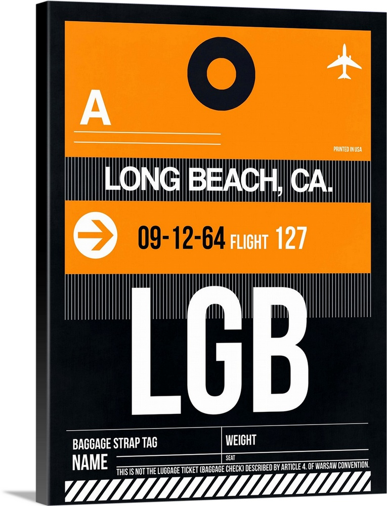 Large Solid-Faced Canvas Print Wall Art Print 30 x 40 entitled LGB Long Beach Luggage Tag II Solid-Faced Canvas Print entitled LGB Long Beach Luggage Tag II.  Multiple sizes available.  Primary colors within this image include Orange, Black, Gray, White.  Made in the USA.  All products come with a 365 day workmanship guarantee.  Inks used are latex-based and designed to last.  Archival inks prevent fading and preserve as much fine detail as possible with no over-saturation or color shifting.  Featuring a proprietary design, our canvases produce the tightest corners without any bubbles, ripples, or bumps and will not warp or sag over time.