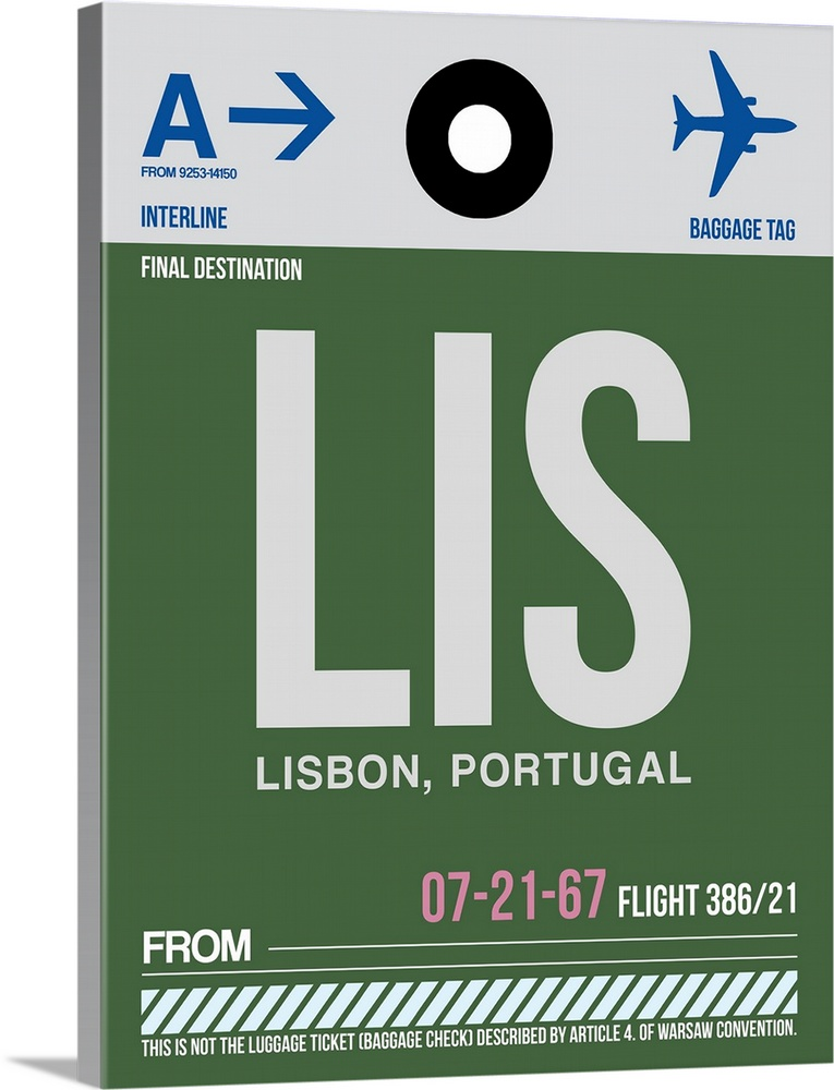 Large Solid-Faced Canvas Print Wall Art Print 30 x 40 entitled LIS Lisbon Luggage Tag II Solid-Faced Canvas Print entitled LIS Lisbon Luggage Tag II.  Multiple sizes available.  Primary colors within this image include Black, White, Muted Blue, Dark Forest Green.  Made in the USA.  All products come with a 365 day workmanship guarantee.  Inks used are latex-based and designed to last.  Canvas is handcrafted and made-to-order in the United States using high quality artist-grade canvas.  Featuring a proprietary design, our canvases produce the tightest corners without any bubbles, ripples, or bumps and will not warp or sag over time.
