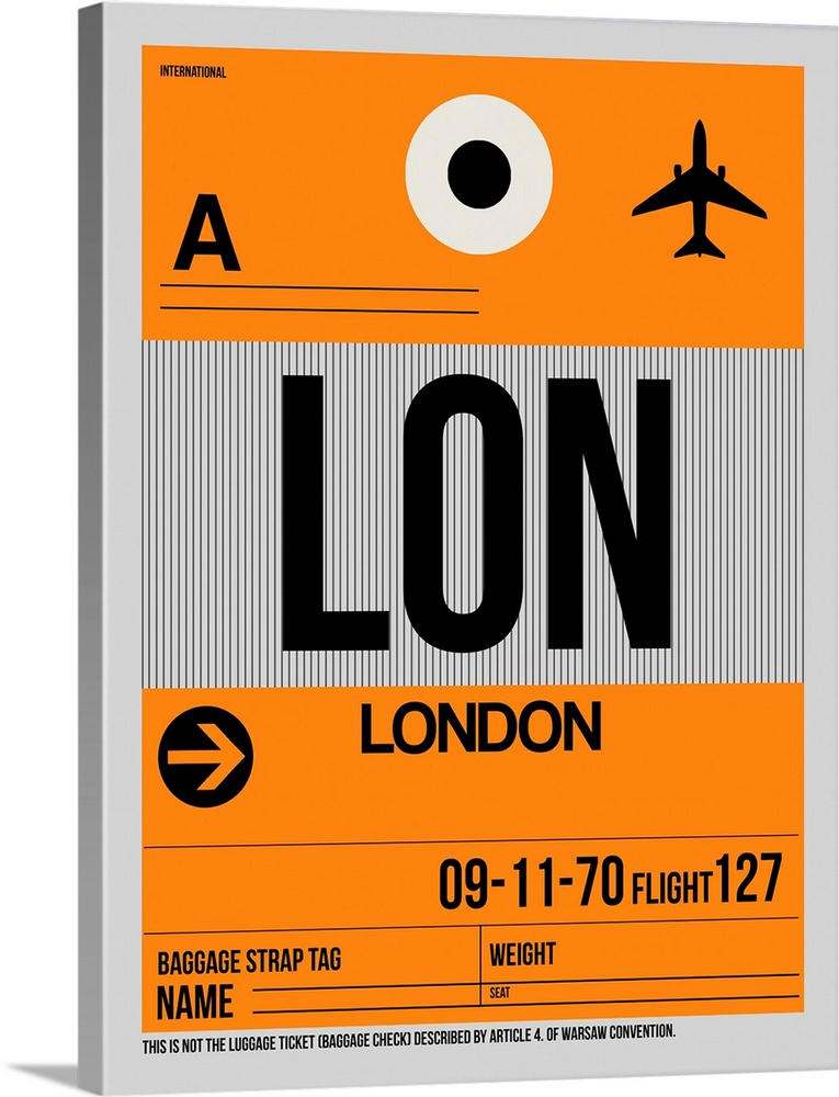 Large Solid-Faced Canvas Print Wall Art Print 30 x 40 entitled LON London Luggage Tag I Solid-Faced Canvas Print entitled LON London Luggage Tag I.  Multiple sizes available.  Primary colors within this image include Orange, Dark Red, Black, Silver.  Made in USA.  Satisfaction guaranteed.  Inks used are latex-based and designed to last.  Canvas is handcrafted and made-to-order in the United States using high quality artist-grade canvas.  Canvas depth is 1.25 and includes a finished backing with pre-installed hanging hardware.