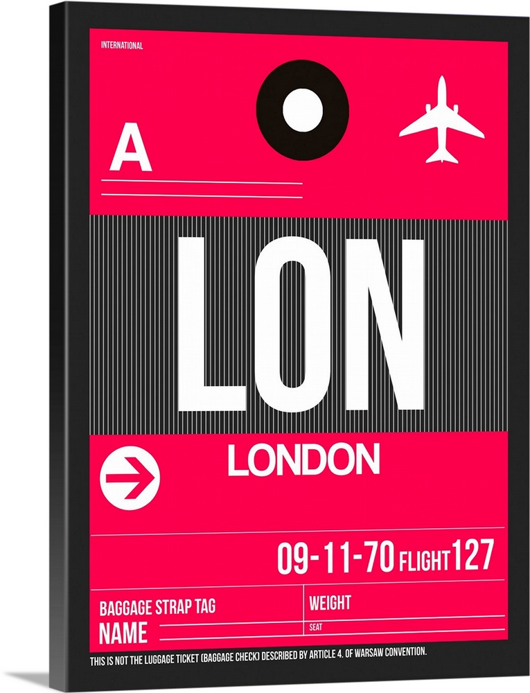 Large Solid-Faced Canvas Print Wall Art Print 30 x 40 entitled LON London Luggage Tag II Solid-Faced Canvas Print entitled LON London Luggage Tag II.  Multiple sizes available.  Primary colors within this image include Red, Dark Gray, White.  Made in USA.  All products come with a 365 day workmanship guarantee.  Inks used are latex-based and designed to last.  Canvas depth is 1.25 and includes a finished backing with pre-installed hanging hardware.  Archival inks prevent fading and preserve as much fine detail as possible with no over-saturation or color shifting.