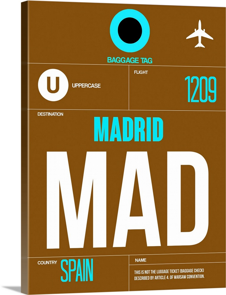 Large Solid-Faced Canvas Print Wall Art Print 30 x 40 entitled MAD Madrid Luggage Tag I Solid-Faced Canvas Print entitled MAD Madrid Luggage Tag I.  Multiple sizes available.  Primary colors within this image include Brown, Black, White, Teal.  Made in USA.  All products come with a 365 day workmanship guarantee.  Archival-quality UV-resistant inks.  Canvas depth is 1.25 and includes a finished backing with pre-installed hanging hardware.  Archival inks prevent fading and preserve as much fine detail as possible with no over-saturation or color shifting.