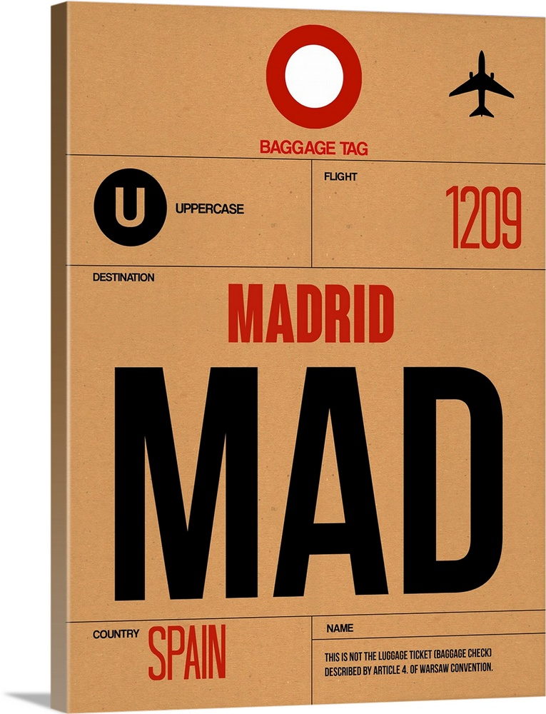Large Solid-Faced Canvas Print Wall Art Print 30 x 40 entitled MAD Madrid Luggage Tag II Solid-Faced Canvas Print entitled MAD Madrid Luggage Tag II.  Multiple sizes available.  Primary colors within this image include Dark Red, Brown, Peach, Black.  Made in USA.  All products come with a 365 day workmanship guarantee.  Inks used are latex-based and designed to last.  Archival inks prevent fading and preserve as much fine detail as possible with no over-saturation or color shifting.  Canvas depth is 1.25 and includes a finished backing with pre-installed hanging hardware.