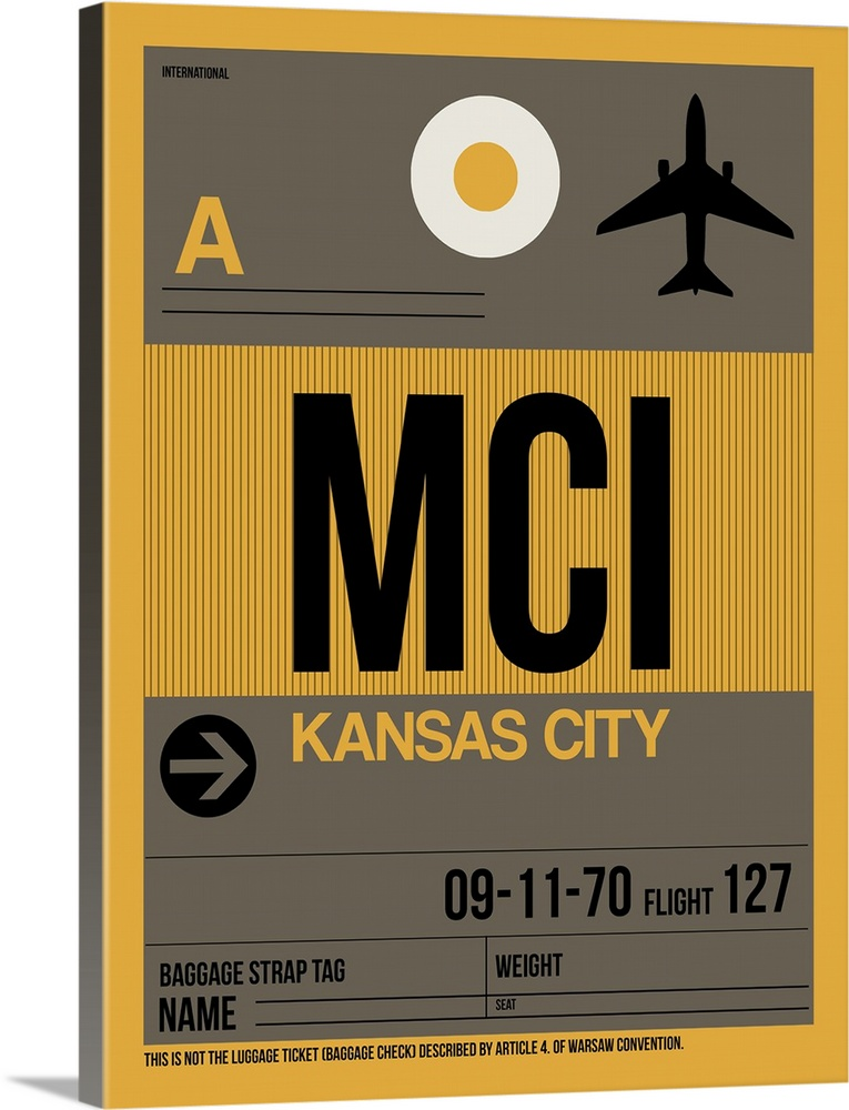 Large Solid-Faced Canvas Print Wall Art Print 30 x 40 entitled MCI Kansas City Luggage Tag I Solid-Faced Canvas Print entitled MCI Kansas City Luggage Tag I.  Multiple sizes available.  Primary colors within this image include Peach, Black, Gray, White.  Made in USA.  Satisfaction guaranteed.  Inks used are latex-based and designed to last.  Featuring a proprietary design, our canvases produce the tightest corners without any bubbles, ripples, or bumps and will not warp or sag over time.  Archival inks prevent fading and preserve as much fine detail as possible with no over-saturation or color shifting.