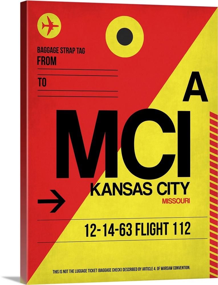 Large Solid-Faced Canvas Print Wall Art Print 30 x 40 entitled MCI Kansas City Luggage tag I Solid-Faced Canvas Print entitled MCI Kansas City Luggage tag I.  Multiple sizes available.  Primary colors within this image include Yellow, Dark Red, Black.  Made in the USA.  Satisfaction guaranteed.  Archival-quality UV-resistant inks.  Featuring a proprietary design, our canvases produce the tightest corners without any bubbles, ripples, or bumps and will not warp or sag over time.  Canvas depth is 1.25 and includes a finished backing with pre-installed hanging hardware.