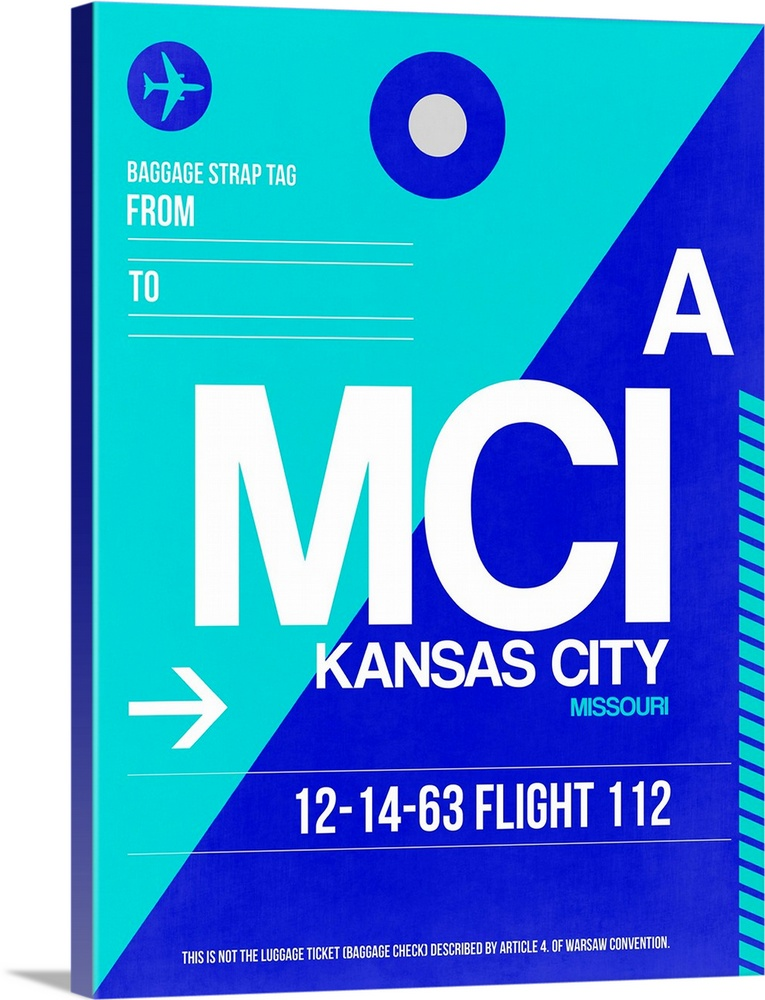 Large Solid-Faced Canvas Print Wall Art Print 30 x 40 entitled MCI Kansas City Luggage tag I Solid-Faced Canvas Print entitled MCI Kansas City Luggage tag I.  Multiple sizes available.  Primary colors within this image include Blue, White, Royal Blue, Teal.  Made in USA.  Satisfaction guaranteed.  Inks used are latex-based and designed to last.  Canvas depth is 1.25 and includes a finished backing with pre-installed hanging hardware.  Featuring a proprietary design, our canvases produce the tightest corners without any bubbles, ripples, or bumps and will not warp or sag over time.