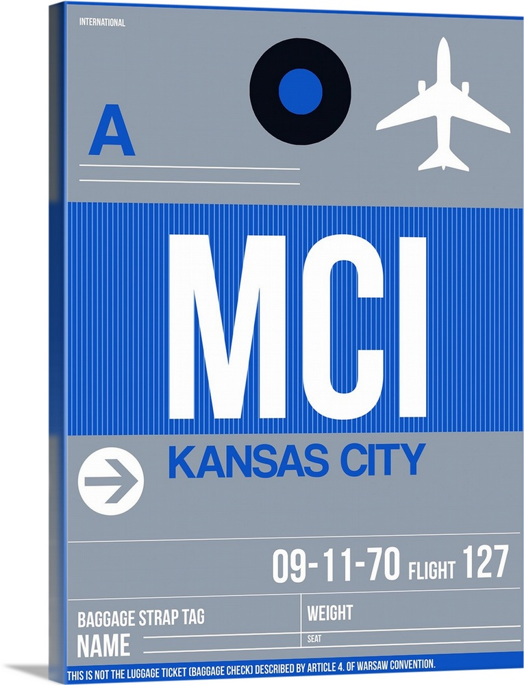 Large Solid-Faced Canvas Print Wall Art Print 30 x 40 entitled MCI Kansas City Luggage Tag II Solid-Faced Canvas Print entitled MCI Kansas City Luggage Tag II.  Multiple sizes available.  Primary colors within this image include Dark Blue, Black, White, Gray Blue.  Made in USA.  Satisfaction guaranteed.  Inks used are latex-based and designed to last.  Canvas depth is 1.25 and includes a finished backing with pre-installed hanging hardware.  Canvas is handcrafted and made-to-order in the United States using high quality artist-grade canvas.