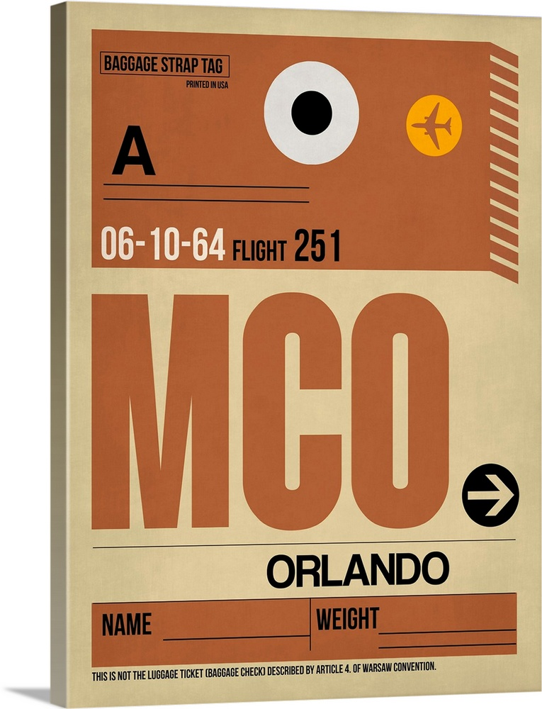 Large Solid-Faced Canvas Print Wall Art Print 30 x 40 entitled MCO Orlando Luggage Tag I Solid-Faced Canvas Print entitled MCO Orlando Luggage Tag I.  Multiple sizes available.  Primary colors within this image include Orange, Brown, Peach, Black.  Made in the USA.  All products come with a 365 day workmanship guarantee.  Inks used are latex-based and designed to last.  Archival inks prevent fading and preserve as much fine detail as possible with no over-saturation or color shifting.  Canvas depth is 1.25 and includes a finished backing with pre-installed hanging hardware.