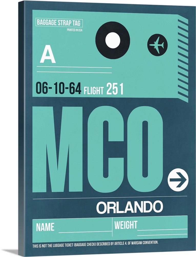 Large Solid-Faced Canvas Print Wall Art Print 30 x 40 entitled MCO Orlando Luggage Tag II Solid-Faced Canvas Print entitled MCO Orlando Luggage Tag II.  Multiple sizes available.  Primary colors within this image include Black, Teal, Dark Navy Blue.  Made in USA.  Satisfaction guaranteed.  Inks used are latex-based and designed to last.  Archival inks prevent fading and preserve as much fine detail as possible with no over-saturation or color shifting.  Canvas depth is 1.25 and includes a finished backing with pre-installed hanging hardware.