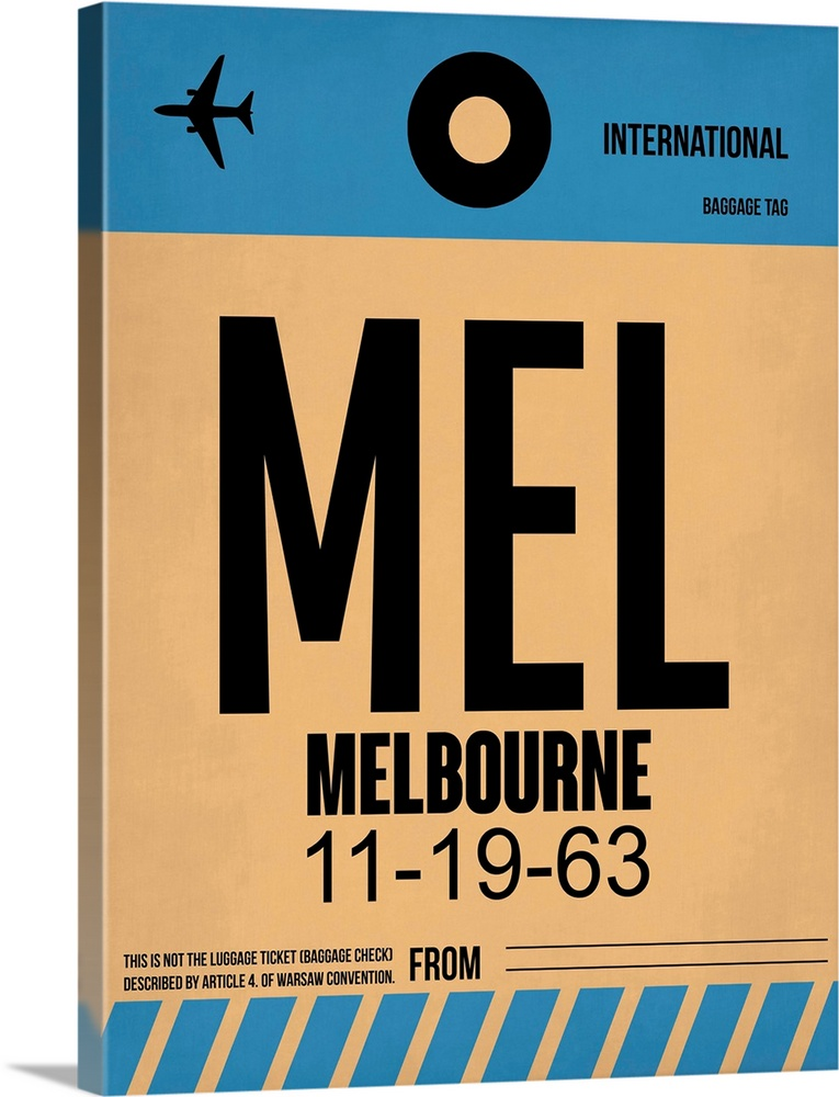 Large Solid-Faced Canvas Print Wall Art Print 30 x 40 entitled MEL Melbourne Luggage Tag I Solid-Faced Canvas Print entitled MEL Melbourne Luggage Tag I.  Multiple sizes available.  Primary colors within this image include Peach, Black, Gray Blue.  Made in the USA.  All products come with a 365 day workmanship guarantee.  Archival-quality UV-resistant inks.  Archival inks prevent fading and preserve as much fine detail as possible with no over-saturation or color shifting.  Featuring a proprietary design, our canvases produce the tightest corners without any bubbles, ripples, or bumps and will not warp or sag over time.