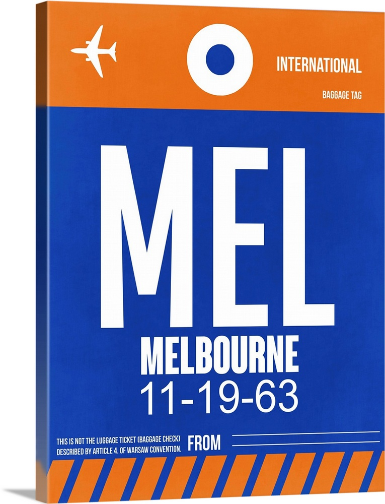 Large Solid-Faced Canvas Print Wall Art Print 30 x 40 entitled MEL Melbourne Luggage Tag II Solid-Faced Canvas Print entitled MEL Melbourne Luggage Tag II.  Multiple sizes available.  Primary colors within this image include Orange, Dark Blue, Black, White.  Made in the USA.  All products come with a 365 day workmanship guarantee.  Archival-quality UV-resistant inks.  Archival inks prevent fading and preserve as much fine detail as possible with no over-saturation or color shifting.  Canvas is handcrafted and made-to-order in the United States using high quality artist-grade canvas.