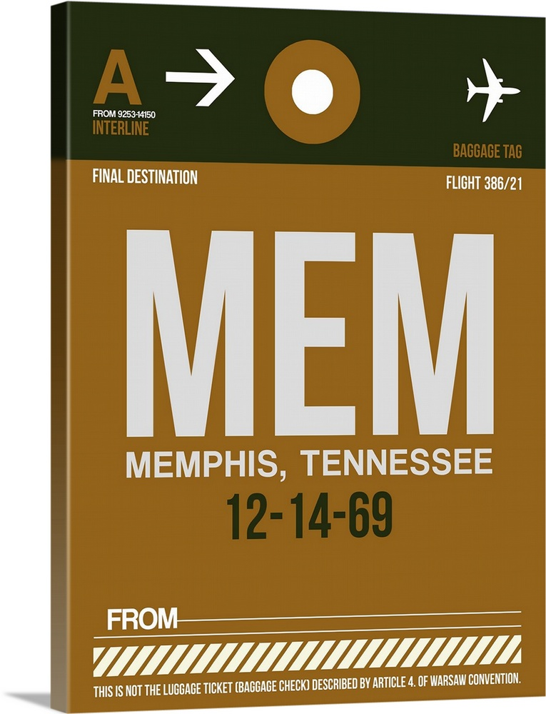 Large Solid-Faced Canvas Print Wall Art Print 30 x 40 entitled MEM Memphis Luggage Tag I Solid-Faced Canvas Print entitled MEM Memphis Luggage Tag I.  Multiple sizes available.  Primary colors within this image include Brown, White, Dark Forest Green.  Made in the USA.  Satisfaction guaranteed.  Inks used are latex-based and designed to last.  Archival inks prevent fading and preserve as much fine detail as possible with no over-saturation or color shifting.  Canvas is handcrafted and made-to-order in the United States using high quality artist-grade canvas.