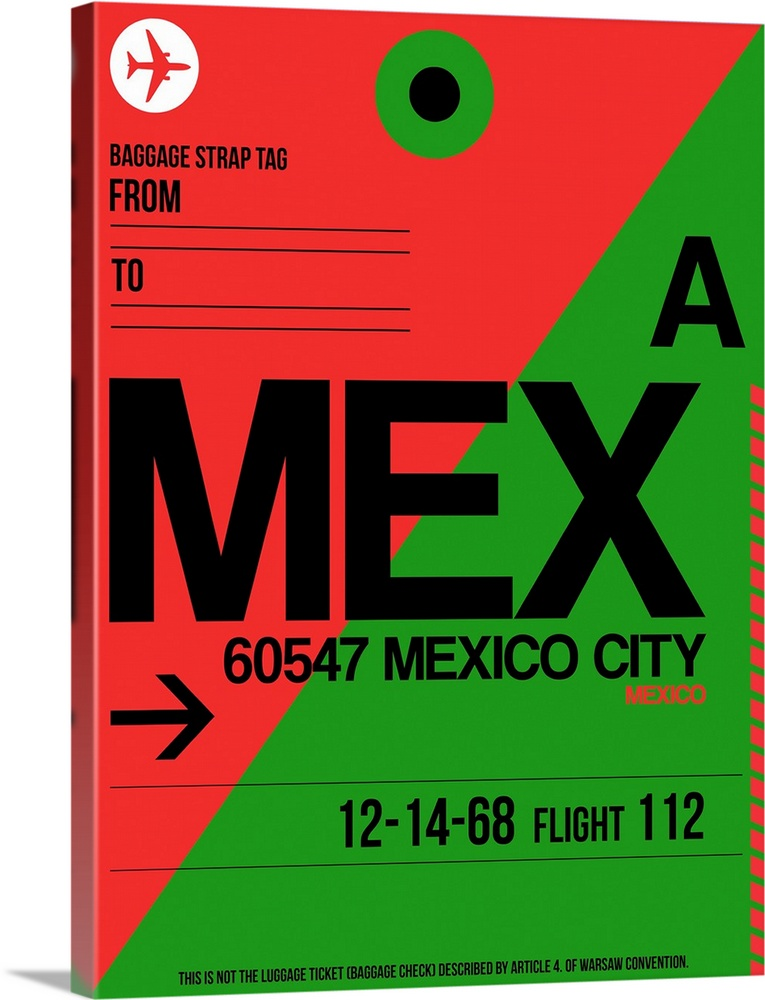 Large Solid-Faced Canvas Print Wall Art Print 30 x 40 entitled MEX Mexico City Luggage Tag II Solid-Faced Canvas Print entitled MEX Mexico City Luggage Tag II.  Multiple sizes available.  Primary colors within this image include Red, Green, Forest Green, Black.  Made in USA.  Satisfaction guaranteed.  Inks used are latex-based and designed to last.  Canvas is handcrafted and made-to-order in the United States using high quality artist-grade canvas.  Canvas depth is 1.25 and includes a finished backing with pre-installed hanging hardware.