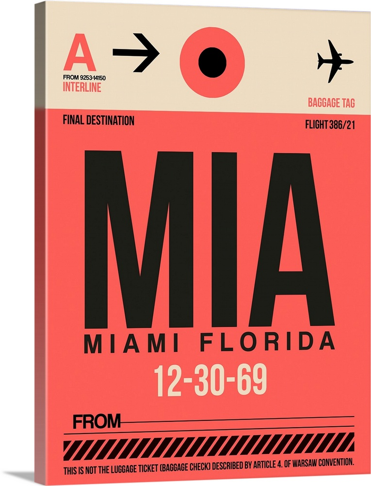 Large Solid-Faced Canvas Print Wall Art Print 30 x 40 entitled MIA Miami Luggage Tag I Solid-Faced Canvas Print entitled MIA Miami Luggage Tag I.  Multiple sizes available.  Primary colors within this image include Pink, Peach, Black.  Made in the USA.  All products come with a 365 day workmanship guarantee.  Archival-quality UV-resistant inks.  Featuring a proprietary design, our canvases produce the tightest corners without any bubbles, ripples, or bumps and will not warp or sag over time.  Canvas is handcrafted and made-to-order in the United States using high quality artist-grade canvas.