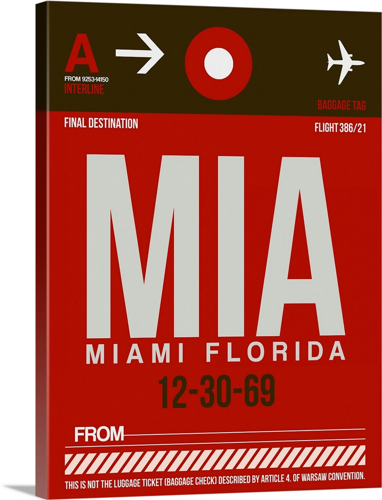 Large Solid-Faced Canvas Print Wall Art Print 30 x 40 entitled MIA Miami Luggage Tag II Solid-Faced Canvas Print entitled MIA Miami Luggage Tag II.  Multiple sizes available.  Primary colors within this image include Dark Red, Silver, Dark Forest Green.  Made in USA.  Satisfaction guaranteed.  Archival-quality UV-resistant inks.  Archival inks prevent fading and preserve as much fine detail as possible with no over-saturation or color shifting.  Canvas is handcrafted and made-to-order in the United States using high quality artist-grade canvas.