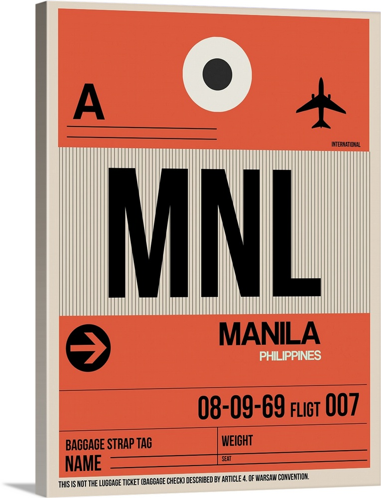 Large Solid-Faced Canvas Print Wall Art Print 30 x 40 entitled MNL Manila Luggage Tag I Solid-Faced Canvas Print entitled MNL Manila Luggage Tag I.  Multiple sizes available.  Primary colors within this image include Pink, Black, Silver.  Made in USA.  Satisfaction guaranteed.  Inks used are latex-based and designed to last.  Canvas depth is 1.25 and includes a finished backing with pre-installed hanging hardware.  Featuring a proprietary design, our canvases produce the tightest corners without any bubbles, ripples, or bumps and will not warp or sag over time.
