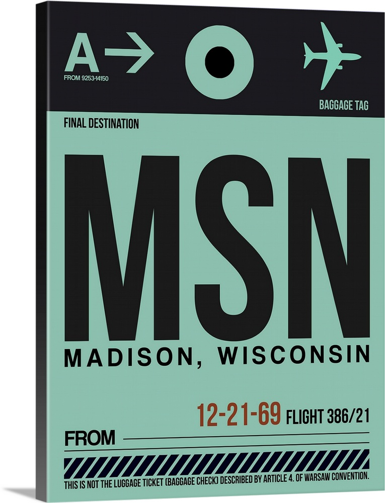 Large Solid-Faced Canvas Print Wall Art Print 30 x 40 entitled MSN Madison Luggage Tag I Solid-Faced Canvas Print entitled MSN Madison Luggage Tag I.  Multiple sizes available.  Primary colors within this image include Brown, Black, Light Gray Blue.  Made in the USA.  Satisfaction guaranteed.  Inks used are latex-based and designed to last.  Canvas depth is 1.25 and includes a finished backing with pre-installed hanging hardware.  Featuring a proprietary design, our canvases produce the tightest corners without any bubbles, ripples, or bumps and will not warp or sag over time.