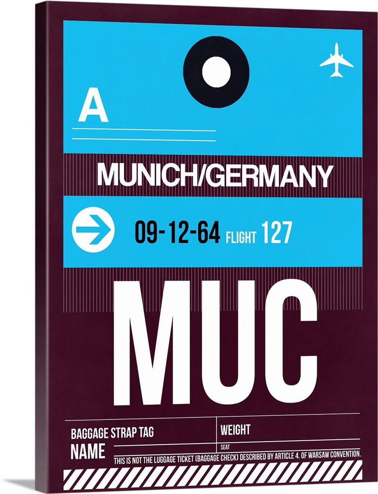 Large Solid-Faced Canvas Print Wall Art Print 30 x 40 entitled MUC Munich Luggage Tag I Solid-Faced Canvas Print entitled MUC Munich Luggage Tag I.  Multiple sizes available.  Primary colors within this image include Black, White, Teal.  Made in USA.  All products come with a 365 day workmanship guarantee.  Archival-quality UV-resistant inks.  Archival inks prevent fading and preserve as much fine detail as possible with no over-saturation or color shifting.  Canvas is handcrafted and made-to-order in the United States using high quality artist-grade canvas.
