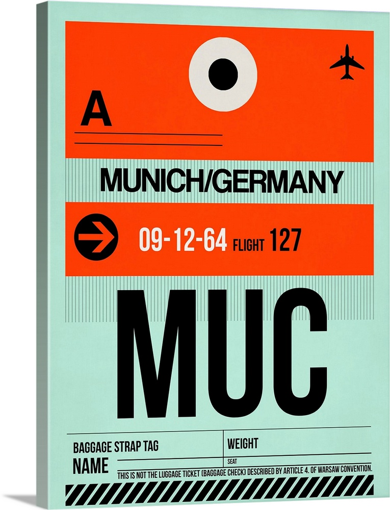 Large Solid-Faced Canvas Print Wall Art Print 30 x 40 entitled MUC Munich Luggage Tag II Solid-Faced Canvas Print entitled MUC Munich Luggage Tag II.  Multiple sizes available.  Primary colors within this image include Red, Black, Gray, Silver.  Made in USA.  All products come with a 365 day workmanship guarantee.  Archival-quality UV-resistant inks.  Canvas depth is 1.25 and includes a finished backing with pre-installed hanging hardware.  Archival inks prevent fading and preserve as much fine detail as possible with no over-saturation or color shifting.