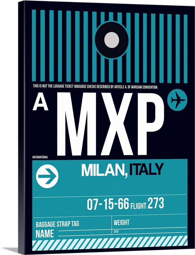 Large Solid-Faced Canvas Print Wall Art Print 30 x 40 entitled MXP Milan Luggage Tag II Solid-Faced Canvas Print entitled MXP Milan Luggage Tag II.  Multiple sizes available.  Primary colors within this image include Black, White, Teal.  Made in the USA.  All products come with a 365 day workmanship guarantee.  Inks used are latex-based and designed to last.  Canvas is handcrafted and made-to-order in the United States using high quality artist-grade canvas.  Archival inks prevent fading and preserve as much fine detail as possible with no over-saturation or color shifting.