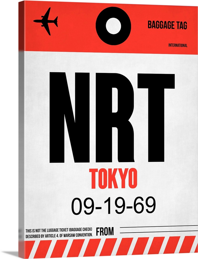 Large Solid-Faced Canvas Print Wall Art Print 30 x 40 entitled NRT Tokyo Luggage Tag I Solid-Faced Canvas Print entitled NRT Tokyo Luggage Tag I.  Multiple sizes available.  Primary colors within this image include Red, Black, White.  Made in the USA.  All products come with a 365 day workmanship guarantee.  Archival-quality UV-resistant inks.  Archival inks prevent fading and preserve as much fine detail as possible with no over-saturation or color shifting.  Featuring a proprietary design, our canvases produce the tightest corners without any bubbles, ripples, or bumps and will not warp or sag over time.
