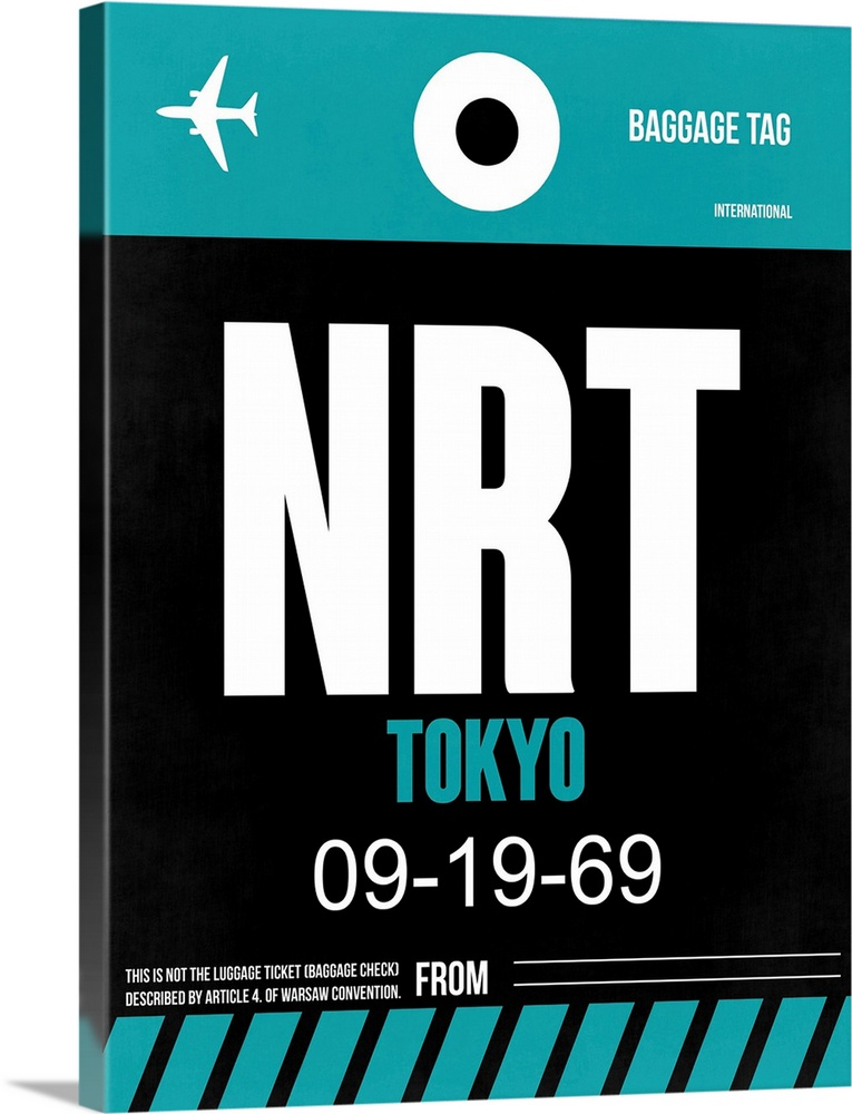Large Solid-Faced Canvas Print Wall Art Print 30 x 40 entitled NRT Tokyo Luggage Tag II Solid-Faced Canvas Print entitled NRT Tokyo Luggage Tag II.  Multiple sizes available.  Primary colors within this image include Black, White, Teal.  Made in the USA.  All products come with a 365 day workmanship guarantee.  Inks used are latex-based and designed to last.  Canvas is handcrafted and made-to-order in the United States using high quality artist-grade canvas.  Archival inks prevent fading and preserve as much fine detail as possible with no over-saturation or color shifting.