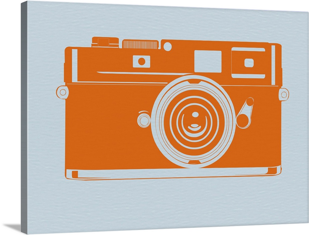 Large Solid-Faced Canvas Print Wall Art Print 40 x 30 entitled Orange Camera Solid-Faced Canvas Print entitled Orange Camera.  Multiple sizes available.  Primary colors within this image include Orange, Black, Silver.  Made in the USA.  All products come with a 365 day workmanship guarantee.  Archival-quality UV-resistant inks.  Archival inks prevent fading and preserve as much fine detail as possible with no over-saturation or color shifting.  Canvas is handcrafted and made-to-order in the United States using high quality artist-grade canvas.