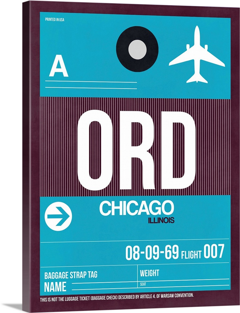 Large Solid-Faced Canvas Print Wall Art Print 30 x 40 entitled ORD Chicago Luggage Tag I Solid-Faced Canvas Print entitled ORD Chicago Luggage Tag I.  Multiple sizes available.  Primary colors within this image include Dark Gray, Light Gray, White, Teal.  Made in the USA.  Satisfaction guaranteed.  Archival-quality UV-resistant inks.  Canvas is handcrafted and made-to-order in the United States using high quality artist-grade canvas.  Canvas depth is 1.25 and includes a finished backing with pre-installed hanging hardware.