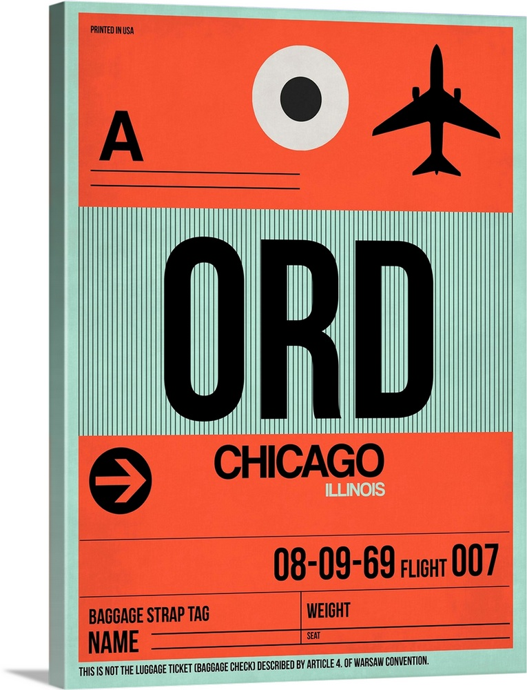 Large Solid-Faced Canvas Print Wall Art Print 30 x 40 entitled ORD Chicago Luggage Tag II Solid-Faced Canvas Print entitled ORD Chicago Luggage Tag II.  Multiple sizes available.  Primary colors within this image include Red, Dark Red, Black, Silver.  Made in the USA.  Satisfaction guaranteed.  Inks used are latex-based and designed to last.  Archival inks prevent fading and preserve as much fine detail as possible with no over-saturation or color shifting.  Canvas depth is 1.25 and includes a finished backing with pre-installed hanging hardware.