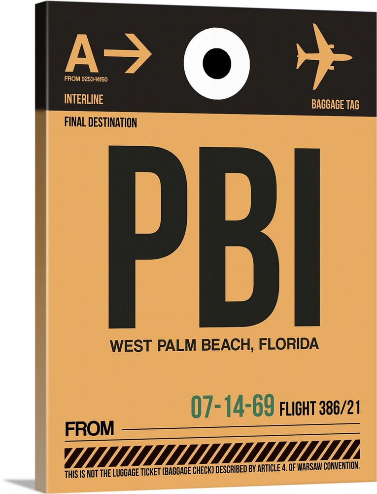 Large Solid-Faced Canvas Print Wall Art Print 30 x 40 entitled PBI West Palm Beach Luggage Tag I Solid-Faced Canvas Print entitled PBI West Palm Beach Luggage Tag I.  Multiple sizes available.  Primary colors within this image include Forest Green, Peach, Black, White.  Made in the USA.  All products come with a 365 day workmanship guarantee.  Archival-quality UV-resistant inks.  Featuring a proprietary design, our canvases produce the tightest corners without any bubbles, ripples, or bumps and will not warp or sag over time.  Archival inks prevent fading and preserve as much fine detail as possible with no over-saturation or color shifting.