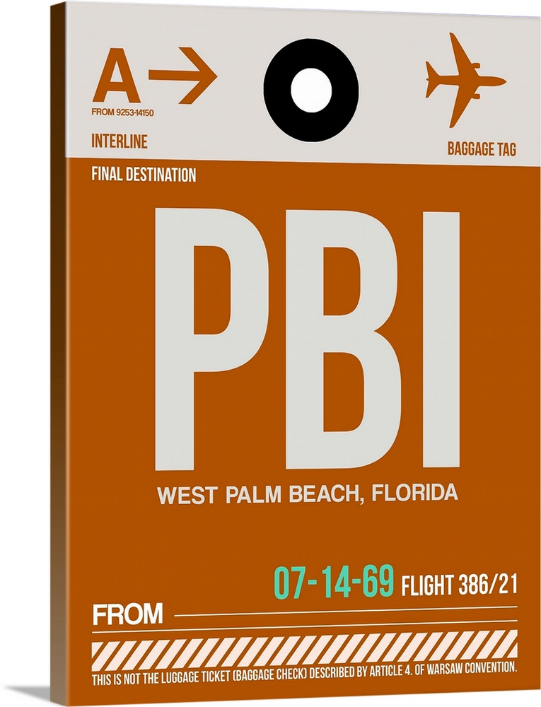 Large Solid-Faced Canvas Print Wall Art Print 30 x 40 entitled PBI West Palm Beach Luggage Tag II Solid-Faced Canvas Print entitled PBI West Palm Beach Luggage Tag II.  Multiple sizes available.  Primary colors within this image include Brown, Peach, Black, Teal.  Made in the USA.  All products come with a 365 day workmanship guarantee.  Inks used are latex-based and designed to last.  Canvas is handcrafted and made-to-order in the United States using high quality artist-grade canvas.  Featuring a proprietary design, our canvases produce the tightest corners without any bubbles, ripples, or bumps and will not warp or sag over time.