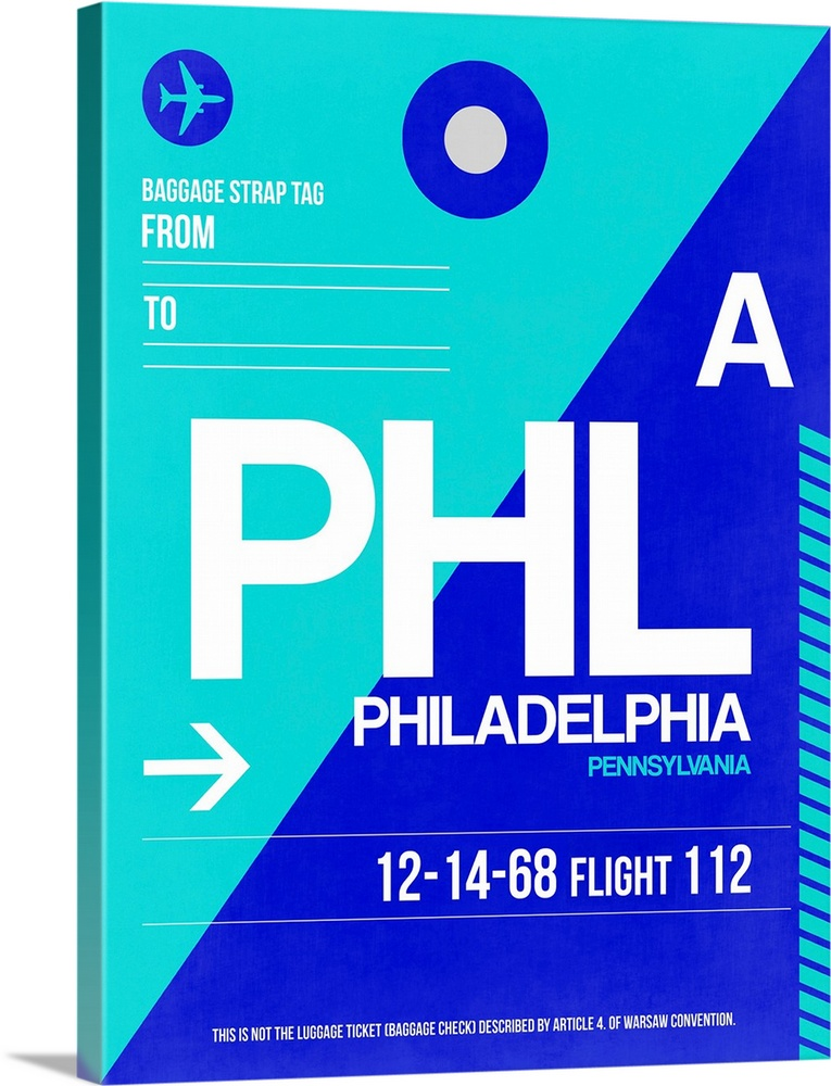 Large Solid-Faced Canvas Print Wall Art Print 30 x 40 entitled PHL Philadelphia Luggage Tag I Solid-Faced Canvas Print entitled PHL Philadelphia Luggage Tag I.  Multiple sizes available.  Primary colors within this image include Blue, Sky Blue, White, Teal.  Made in USA.  All products come with a 365 day workmanship guarantee.  Archival-quality UV-resistant inks.  Featuring a proprietary design, our canvases produce the tightest corners without any bubbles, ripples, or bumps and will not warp or sag over time.  Archival inks prevent fading and preserve as much fine detail as possible with no over-saturation or color shifting.