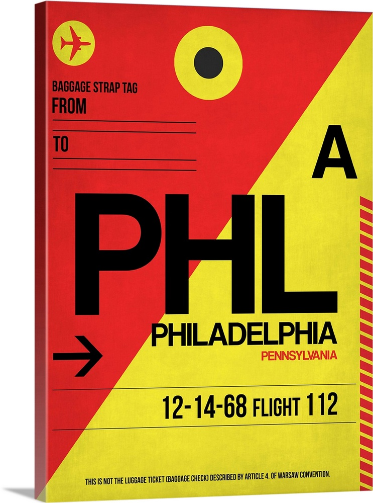 Large Solid-Faced Canvas Print Wall Art Print 30 x 40 entitled PHL Philadelphia Luggage Tag II Solid-Faced Canvas Print entitled PHL Philadelphia Luggage Tag II.  Multiple sizes available.  Primary colors within this image include Red, Yellow, Dark Yellow, Black.  Made in the USA.  All products come with a 365 day workmanship guarantee.  Inks used are latex-based and designed to last.  Archival inks prevent fading and preserve as much fine detail as possible with no over-saturation or color shifting.  Canvas is handcrafted and made-to-order in the United States using high quality artist-grade canvas.
