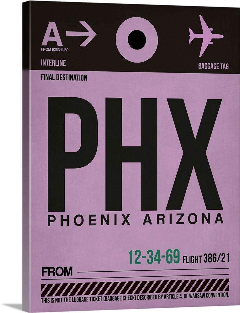 Large Solid-Faced Canvas Print Wall Art Print 30 x 40 entitled PHX Phoenix Luggage Tag I Solid-Faced Canvas Print entitled PHX Phoenix Luggage Tag I.  Multiple sizes available.  Primary colors within this image include Black, Light Gray.  Made in the USA.  All products come with a 365 day workmanship guarantee.  Inks used are latex-based and designed to last.  Canvas depth is 1.25 and includes a finished backing with pre-installed hanging hardware.  Canvas is handcrafted and made-to-order in the United States using high quality artist-grade canvas.