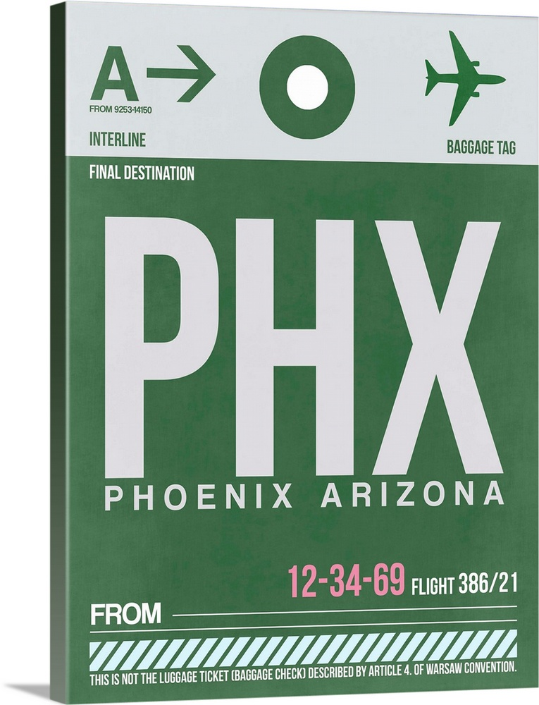 Large Solid-Faced Canvas Print Wall Art Print 30 x 40 entitled PHX Phoenix Luggage Tag I Solid-Faced Canvas Print entitled PHX Phoenix Luggage Tag I.  Multiple sizes available.  Primary colors within this image include Light Purple, Black, White, Dark Forest Green.  Made in the USA.  All products come with a 365 day workmanship guarantee.  Inks used are latex-based and designed to last.  Canvas is handcrafted and made-to-order in the United States using high quality artist-grade canvas.  Featuring a proprietary design, our canvases produce the tightest corners without any bubbles, ripples, or bumps and will not warp or sag over time.