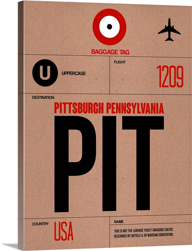 Large Solid-Faced Canvas Print Wall Art Print 30 x 40 entitled PIT Pittsburgh Luggage Tag I Solid-Faced Canvas Print entitled PIT Pittsburgh Luggage Tag I.  Multiple sizes available.  Primary colors within this image include Red, Black, Light Gray, White.  Made in USA.  Satisfaction guaranteed.  Inks used are latex-based and designed to last.  Canvas depth is 1.25 and includes a finished backing with pre-installed hanging hardware.  Featuring a proprietary design, our canvases produce the tightest corners without any bubbles, ripples, or bumps and will not warp or sag over time.