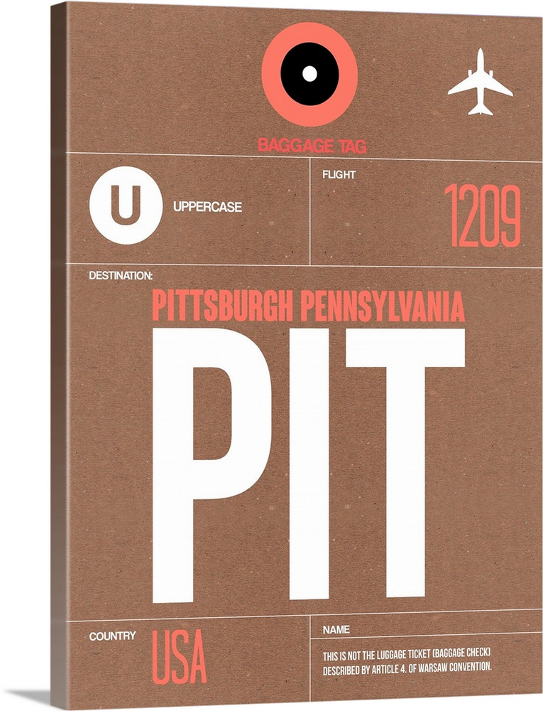 Large Solid-Faced Canvas Print Wall Art Print 30 x 40 entitled PIT Pittsburgh Luggage Tag II Solid-Faced Canvas Print entitled PIT Pittsburgh Luggage Tag II.  Multiple sizes available.  Primary colors within this image include Pink, Black, Gray, White.  Made in USA.  Satisfaction guaranteed.  Inks used are latex-based and designed to last.  Canvas is handcrafted and made-to-order in the United States using high quality artist-grade canvas.  Archival inks prevent fading and preserve as much fine detail as possible with no over-saturation or color shifting.