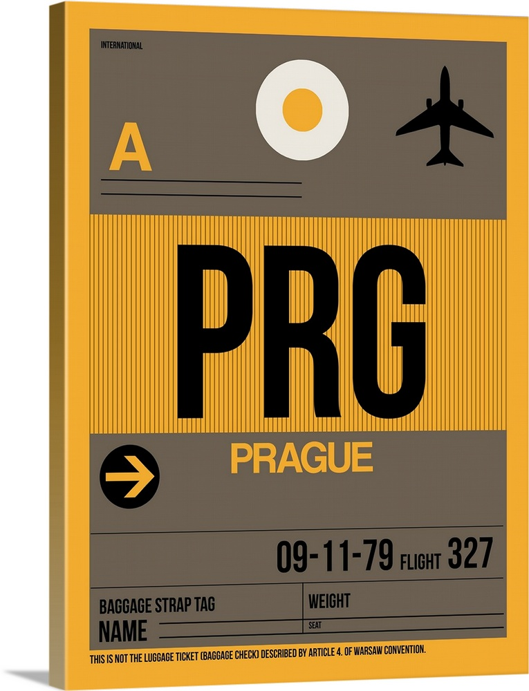 Large Solid-Faced Canvas Print Wall Art Print 30 x 40 entitled PRG Prague Luggage Tag I Solid-Faced Canvas Print entitled PRG Prague Luggage Tag I.  Multiple sizes available.  Primary colors within this image include Orange, Black, Gray, White.  Made in USA.  All products come with a 365 day workmanship guarantee.  Inks used are latex-based and designed to last.  Canvas is handcrafted and made-to-order in the United States using high quality artist-grade canvas.  Featuring a proprietary design, our canvases produce the tightest corners without any bubbles, ripples, or bumps and will not warp or sag over time.