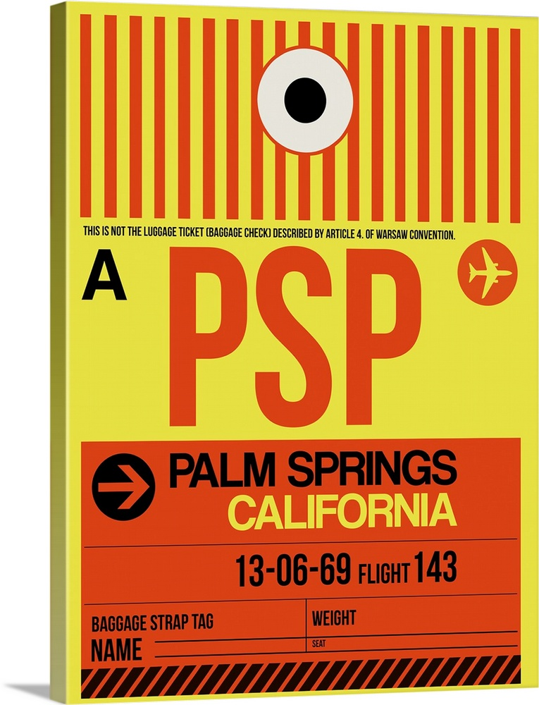 Large Solid-Faced Canvas Print Wall Art Print 30 x 40 entitled PSP Palm Springs Luggage Tag I Solid-Faced Canvas Print entitled PSP Palm Springs Luggage Tag I.  Multiple sizes available.  Primary colors within this image include Red, Light Yellow, Black, Silver.  Made in USA.  All products come with a 365 day workmanship guarantee.  Inks used are latex-based and designed to last.  Canvas is handcrafted and made-to-order in the United States using high quality artist-grade canvas.  Archival inks prevent fading and preserve as much fine detail as possible with no over-saturation or color shifting.
