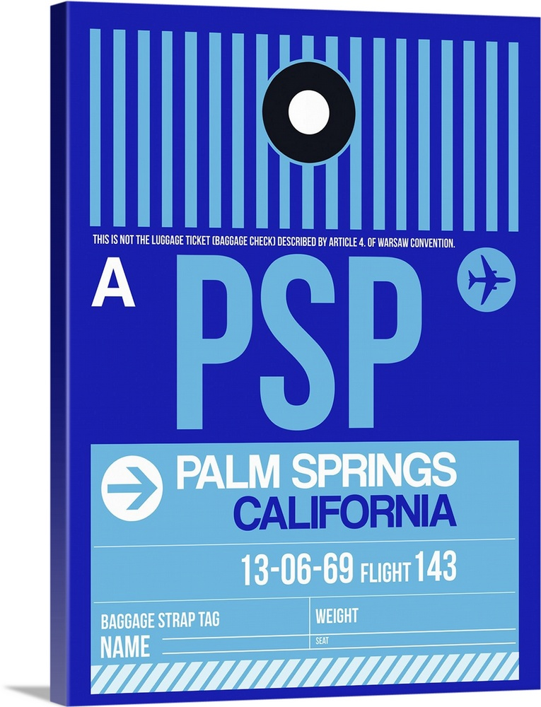 Large Solid-Faced Canvas Print Wall Art Print 30 x 40 entitled PSP Palm Springs Luggage Tag II Solid-Faced Canvas Print entitled PSP Palm Springs Luggage Tag II.  Multiple sizes available.  Primary colors within this image include Blue, Sky Blue, Black.  Made in USA.  Satisfaction guaranteed.  Archival-quality UV-resistant inks.  Canvas is handcrafted and made-to-order in the United States using high quality artist-grade canvas.  Canvas depth is 1.25 and includes a finished backing with pre-installed hanging hardware.