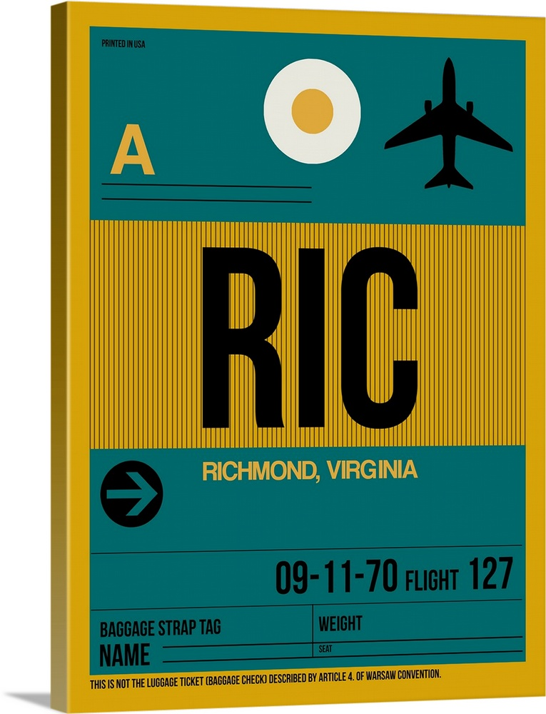 Large Solid-Faced Canvas Print Wall Art Print 30 x 40 entitled RIC Richmond Luggage Tag I Solid-Faced Canvas Print entitled RIC Richmond Luggage Tag I.  Multiple sizes available.  Primary colors within this image include Brown, Dark Yellow, Black, Gray Blue.  Made in the USA.  All products come with a 365 day workmanship guarantee.  Inks used are latex-based and designed to last.  Canvas depth is 1.25 and includes a finished backing with pre-installed hanging hardware.  Archival inks prevent fading and preserve as much fine detail as possible with no over-saturation or color shifting.