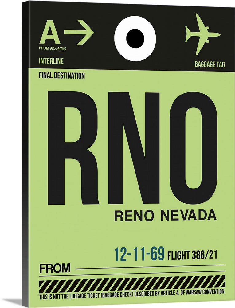 Large Solid-Faced Canvas Print Wall Art Print 30 x 40 entitled RNO Reno Luggage Tag I Solid-Faced Canvas Print entitled RNO Reno Luggage Tag I.  Multiple sizes available.  Primary colors within this image include Light Green, Black, White, Dark Forest Green.  Made in USA.  All products come with a 365 day workmanship guarantee.  Archival-quality UV-resistant inks.  Canvas is handcrafted and made-to-order in the United States using high quality artist-grade canvas.  Featuring a proprietary design, our canvases produce the tightest corners without any bubbles, ripples, or bumps and will not warp or sag over time.
