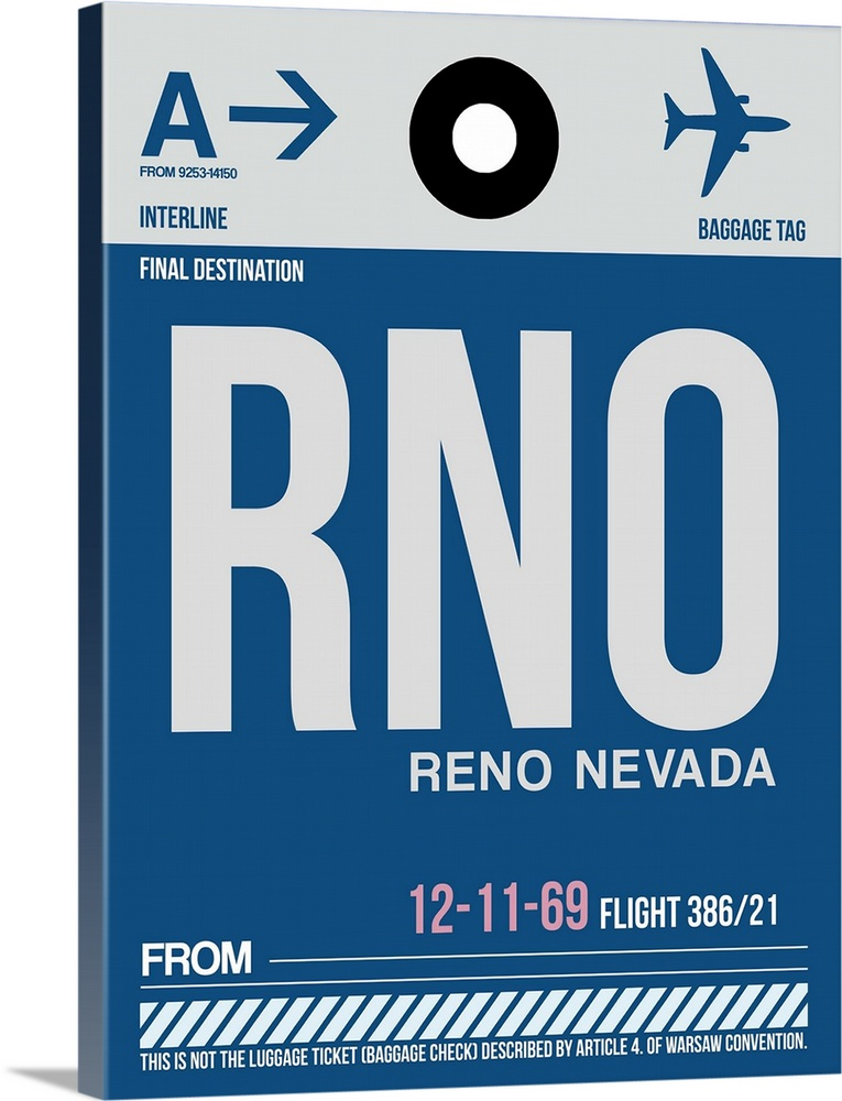 Large Solid-Faced Canvas Print Wall Art Print 30 x 40 entitled RNO Reno Luggage Tag II Solid-Faced Canvas Print entitled RNO Reno Luggage Tag II.  Multiple sizes available.  Primary colors within this image include Black, White, Muted Blue.  Made in USA.  Satisfaction guaranteed.  Inks used are latex-based and designed to last.  Featuring a proprietary design, our canvases produce the tightest corners without any bubbles, ripples, or bumps and will not warp or sag over time.  Archival inks prevent fading and preserve as much fine detail as possible with no over-saturation or color shifting.