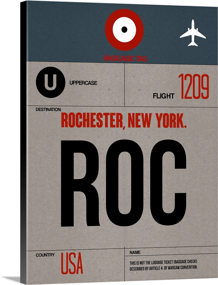 Large Solid-Faced Canvas Print Wall Art Print 30 x 40 entitled ROC Rochester Luggage Tag I Solid-Faced Canvas Print entitled ROC Rochester Luggage Tag I.  Multiple sizes available.  Primary colors within this image include Dark Red, Black, Light Gray.  Made in the USA.  All products come with a 365 day workmanship guarantee.  Inks used are latex-based and designed to last.  Featuring a proprietary design, our canvases produce the tightest corners without any bubbles, ripples, or bumps and will not warp or sag over time.  Archival inks prevent fading and preserve as much fine detail as possible with no over-saturation or color shifting.