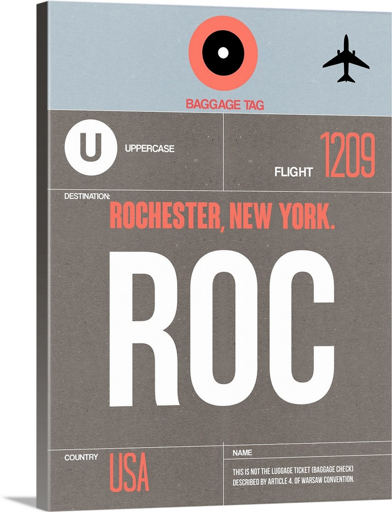 Large Solid-Faced Canvas Print Wall Art Print 30 x 40 entitled ROC Rochester Luggage Tag II Solid-Faced Canvas Print entitled ROC Rochester Luggage Tag II.  Multiple sizes available.  Primary colors within this image include Pink, Black, Gray, White.  Made in the USA.  Satisfaction guaranteed.  Inks used are latex-based and designed to last.  Canvas depth is 1.25 and includes a finished backing with pre-installed hanging hardware.  Canvas is handcrafted and made-to-order in the United States using high quality artist-grade canvas.