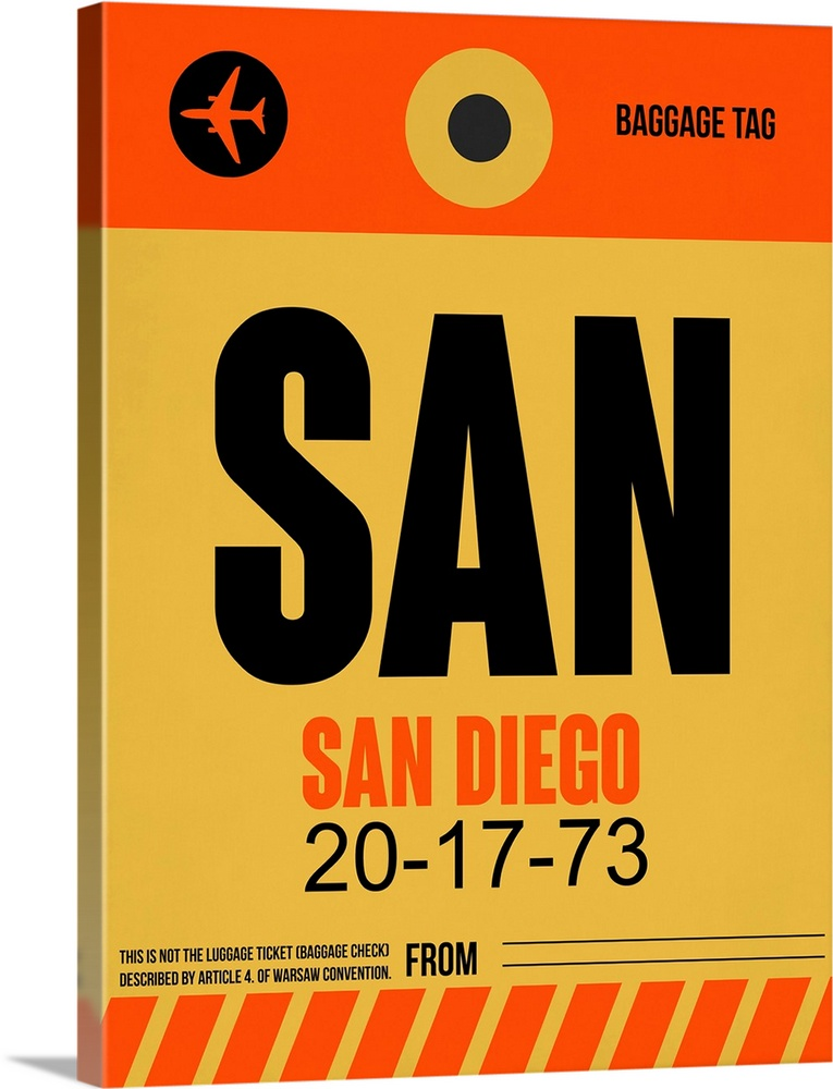 Large Solid-Faced Canvas Print Wall Art Print 30 x 40 entitled SAN San Diego Luggage Tag I Solid-Faced Canvas Print entitled SAN San Diego Luggage Tag I.  Multiple sizes available.  Primary colors within this image include Red, Peach, Dark Forest Green.  Made in USA.  Satisfaction guaranteed.  Inks used are latex-based and designed to last.  Archival inks prevent fading and preserve as much fine detail as possible with no over-saturation or color shifting.  Canvas depth is 1.25 and includes a finished backing with pre-installed hanging hardware.