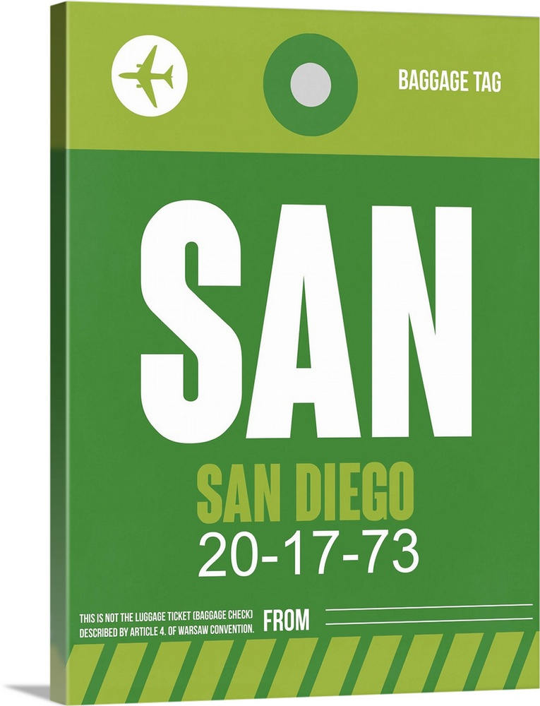 Large Solid-Faced Canvas Print Wall Art Print 30 x 40 entitled SAN San Diego Luggage Tag II Solid-Faced Canvas Print entitled SAN San Diego Luggage Tag II.  Multiple sizes available.  Primary colors within this image include Forest Green, Black, White.  Made in the USA.  Satisfaction guaranteed.  Inks used are latex-based and designed to last.  Archival inks prevent fading and preserve as much fine detail as possible with no over-saturation or color shifting.  Canvas is handcrafted and made-to-order in the United States using high quality artist-grade canvas.
