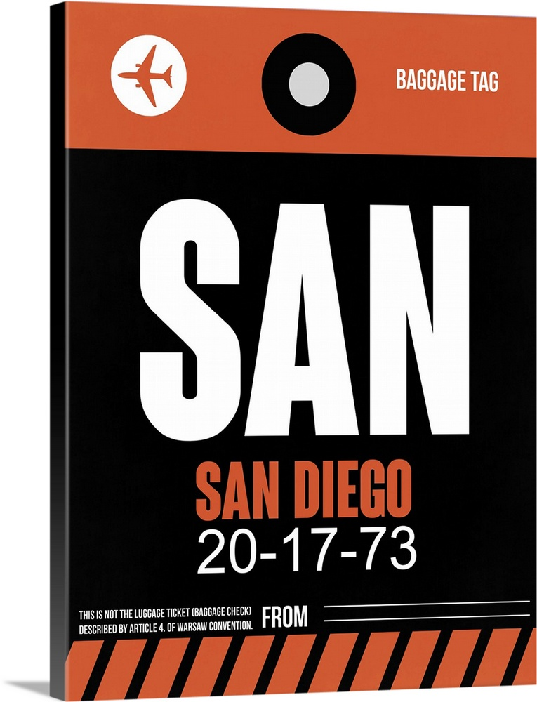 Large Solid-Faced Canvas Print Wall Art Print 30 x 40 entitled SAN San Diego Luggage Tag III Solid-Faced Canvas Print entitled SAN San Diego Luggage Tag III.  Multiple sizes available.  Primary colors within this image include Pink, Black, Light Gray, White.  Made in USA.  Satisfaction guaranteed.  Archival-quality UV-resistant inks.  Canvas is handcrafted and made-to-order in the United States using high quality artist-grade canvas.  Featuring a proprietary design, our canvases produce the tightest corners without any bubbles, ripples, or bumps and will not warp or sag over time.