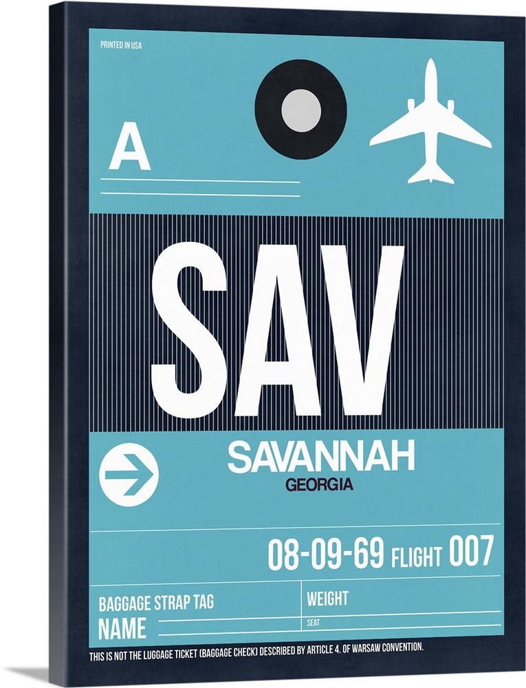 Large Solid-Faced Canvas Print Wall Art Print 30 x 40 entitled SAV Savannah Luggage Tag II Solid-Faced Canvas Print entitled SAV Savannah Luggage Tag II.  Multiple sizes available.  Primary colors within this image include Black, Light Gray Blue.  Made in USA.  All products come with a 365 day workmanship guarantee.  Inks used are latex-based and designed to last.  Archival inks prevent fading and preserve as much fine detail as possible with no over-saturation or color shifting.  Canvas depth is 1.25 and includes a finished backing with pre-installed hanging hardware.