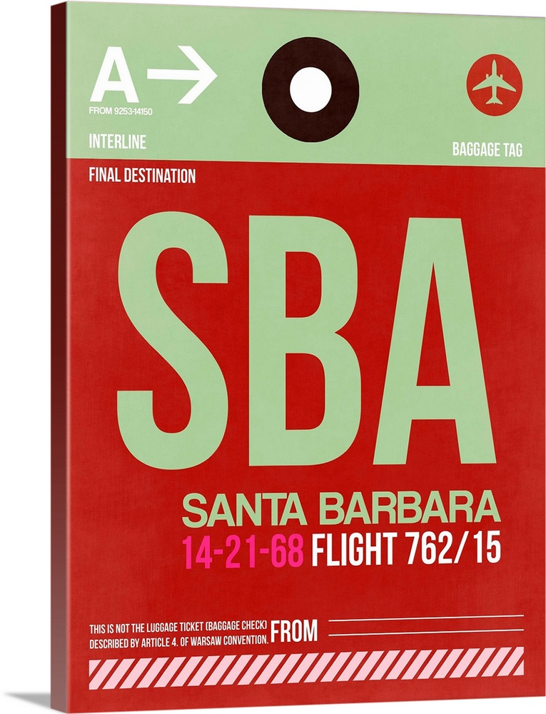 Large Solid-Faced Canvas Print Wall Art Print 30 x 40 entitled SBA Santa Barbara Luggage Tag II Solid-Faced Canvas Print entitled SBA Santa Barbara Luggage Tag II.  Multiple sizes available.  Primary colors within this image include Dark Red, Light Green, Black, Silver.  Made in the USA.  Satisfaction guaranteed.  Archival-quality UV-resistant inks.  Canvas is handcrafted and made-to-order in the United States using high quality artist-grade canvas.  Featuring a proprietary design, our canvases produce the tightest corners without any bubbles, ripples, or bumps and will not warp or sag over time.